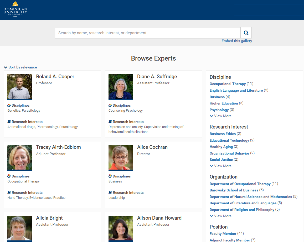 Expert Gallery Browse Page